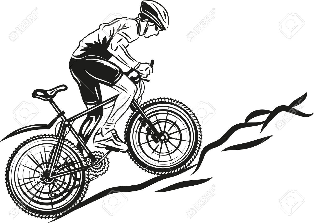 34910536 MTB biker Stock Vector mountain biking bike